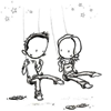 ursamajor: girl and boy on swings (swings)