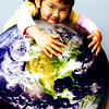 dharmavati: cute Asian girl is hugging the world ({misc} I love the whole world)