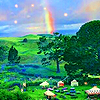 lavendertook: hobbiton party field with rainbow (shire rainbow)