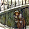 lavendertook: girl walking up stairs in winter (uphill, trudging)