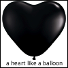 "the_misha: Image of a black heart-shaped balloon, with the text ""a heart like a balloon"" below it. (balloon)"