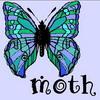 moth2fic: drawing of blue moth captioned 'moth' (moths_blue card)