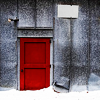 outlineofash: A red door set in a grey, snow-flecked building. (Sundry - Red Door)