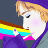 athousanderrors: vector drawing; me cupping a hand round a cigarette, a rainbow in the background, in a purple scarf, hat, and gloves. (me by spilly)