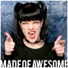 athousanderrors: Goth lab tech from NCIS, making finger guns, with 'made of awesome' at the bottom. (abby made of awesome)