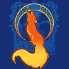foxfirefey: A fox colored like flame over an ornately framed globe (Default)