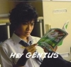 "bakamegami_sama: Akaya holding a book upside down with white text from his song Chacha to Tsubusuze (""Hey GENIUS"") (Default)"