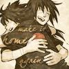 """hokuton_punch: Fanart of Uchiha Itachi and Sasuke hugging, captioned """"make it home again."""" (naruto uchiha hugs)"""