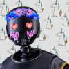 sylvaine: K-2SO blushin with hearteyes and a flower crown in front of unicorn wallpaper. ([sw:r1] K2 hearteyes motherfucker)