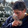 "lokifan: Alec pressing notes ecstatically against his face, text ""Alec + money = OTP"" (Money/Alec OTP)"