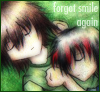 "hokuton_punch: Chibi versions of two original characters cuddling, captioned ""forget smile again."" (shuichi richi hidden faces chibi)"