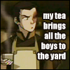 "hokuton_punch: Screenshot of Zuko from A:TLA in an apron, captioned ""my tea brings all the boys to the yard."" (avatar teashop zuko boys obligatory)"