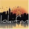 """lokifan: Dawn cityscape, """"Lokifan"""" in white text over the skyscrapers (Lokifan: dawn cityscape)"""