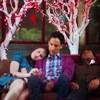 scintilla10: Annie, Abed & Troy napping under Valentine's Day tree (Community - OT3 naptime)