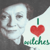 "lokifan: McGonagall smiling, text ""I love witches"" (Witches)"