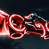 namesram: Ram's red Legacy-era lightcycle hurtling through the air with a light-ribbon behind it. (117)
