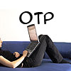 "kristalyn: A picture of a woman lying on a couch with a laptop on her lap. Text: ""OTP"". (fandom: portal)"