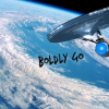 such_heights: the enterprise orbits a planet, text reads 'boldly go' (trek: boldy go [427])