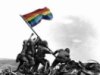 drgaellon: The Iwo Jima statue with a Pride flag (GayIwo2)