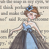 challyzatb: A drawing of someone in a blue and black dress prancing against a print background. (bluedressbooks)