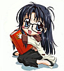 the_other_sandy: Yomiko Readman hugging a book (Primeval logo)