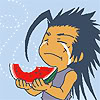 supernalprince: (( ´Д`)Zack ✗ this watermelon is so fg)