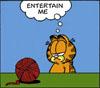 "kyrielle: Cartoon: Garfield staring at a ball of string, thinking ""Entertain me"" (entertain me (garfield))"