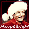 "copracat: danny kaye in santa hat with text ""merry and bright"" (merry and bright)"