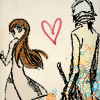 lavivi: redhead and Snape-like person, with heart in the middle (Lily/Severus sketch)