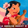 shewhohashope: lilo plays the guitar. text: 'heroine addict' (Heroine Addict)