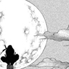 ivoryandhorn: A young man with a ponytail crouches on top of a pole, silhouetted against a full moon. (itachi: full moon)