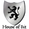 houses: Silver shield with dragon illustration and text: House of Bit (House of Bit)