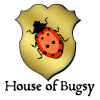 houses: Golden shield with ladybug illustration and text: House of Bugsy (House of Bugsy)