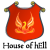 houses: Red shield with phoenix illustration and text: House of hEll (House of hEll)