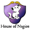 houses: Purple shield with cute kitty illustration and text: House of Nagios (Nagios)