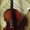 sara: Trompe l'oeil painting of a violin (violin)