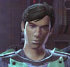 virtualvoyages: A youngish man with dark hair has his head slightly cocked to one side (Kyrian)