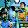 renisanz: angelo, jono, & jubilee watching tv (teyla w/ sticks)