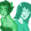 tendtoenunciate: Kanaya with faintly upquirked lips and eyebrows at a whimsical Terezi. (Uncertainty)