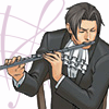 truthsnomiracle: Edgeworth sits in a chair, playing the flute. (Of course I have hobbies., Flute)