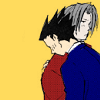 truthsnomiracle: Edgeworth is putting up with a hug. (how does i hugs, Must I put up with being touched?)