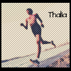 "thalia: woman running, caption ""Thalia"" (running)"