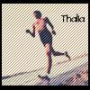 "thalia: woman running, caption ""Thalia"" (running)"