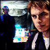 thalia: Jack Harkness looking pensive with Ianto Jones in the background (tw - jack w/ianto)