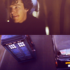 in_lighter_ink: Split screen image of Sherlock's Holmes and the TARDIS (Default)