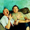 leanwellback: shaun and ed freaking out on the sofa (film- he's got an arm off!)