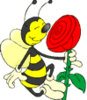 rosebee: Graphic of a smiling bumblebee sniffing a red rose (Smiling bee holding rose)