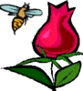 rosebee: grahic of a small bumblebee flying to a red rose (small bee flying to rose)