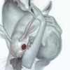 concerto: A pair of arms holding a hare with red eyes. (hare)