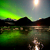delilahdraken: Aurora Borealis, looking over lake and mountains (Aurora Borealis)